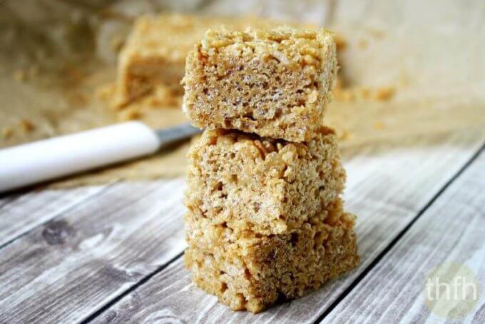 Vegan Peanut Butter Rice Crispy Treats (Vegan, Gluten-Free, Dairy-Free, No Refined Sugar)