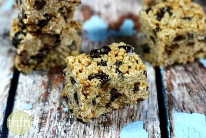 Vegan Chocolate Chip Crispy Treats (Vegan, Gluten-Free, Dairy-Free, No-Bake, No Refined Sugar)