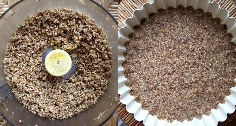 Side-by-side images showing the preparation of the pie crust in a food processor and the pie crust packed down tightly inside a metal pie dish