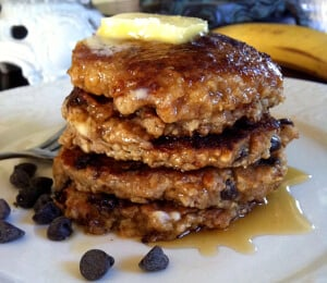 Vegan Chocolate Chip Oatmeal Pancakes