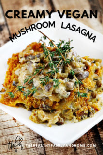 Creamy Gluten-Free Vegan Mushroom Lasagna on a white plate on a wooden surface with text overlay