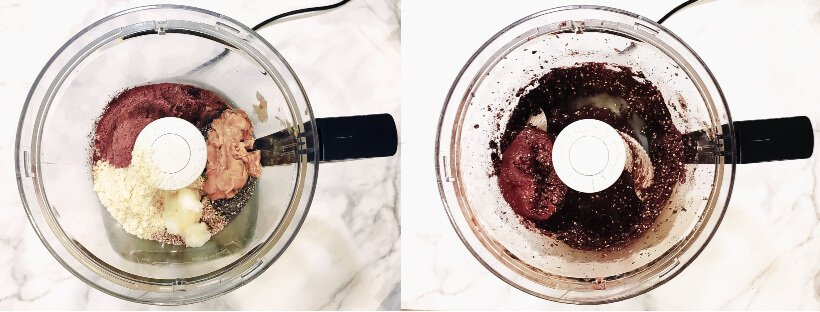 How To Make Gluten-Free Vegan Healthy No-Bake Crunchy Protein Energy Balls in a food processor step-by-step photos