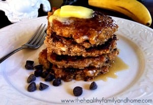 Vegan Chocolate Chip Oatmeal Pancakes