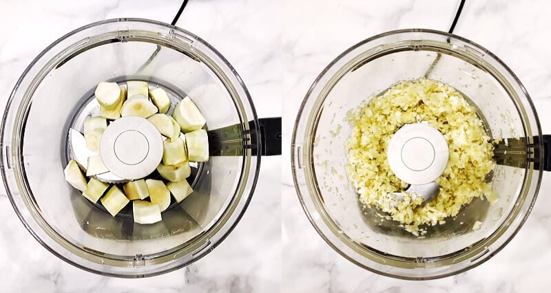 Side by side images showing how to shred the zucchini in a food processor to make The BEST Gluten-Free Vegan Flourless Zucchini Brownies