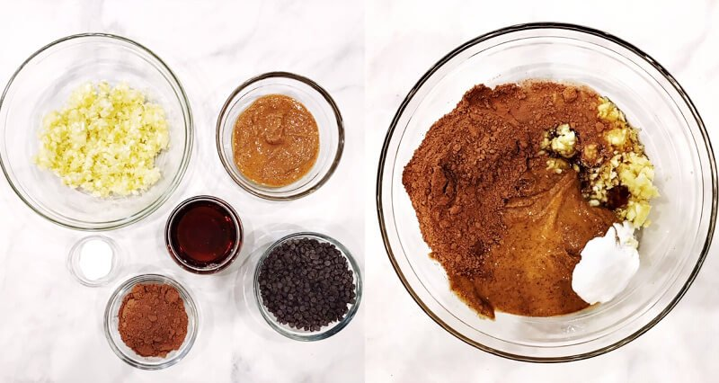 Side by side images showing the ingredients needed to make The BEST Gluten-Free Vegan Flourless Zucchini Brownies before and after mixing the ingredients together
