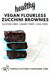 Three of The BEST Gluten-Free Vegan Flourless Zucchini Brownies in front of a glass of milk on a solid white background with text overlay