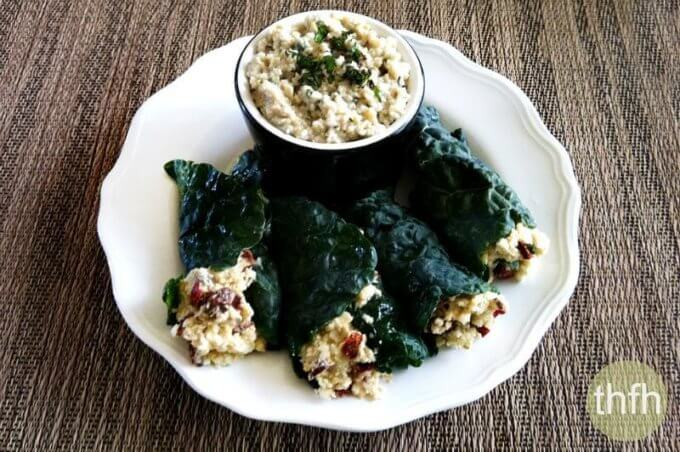 Raw Stuffed Kale Leaves with Mint Cashew Aioli (Raw, Vegan, Gluten-Free, Dairy-Free, Paleo-Friendly, No Refined Sugar)