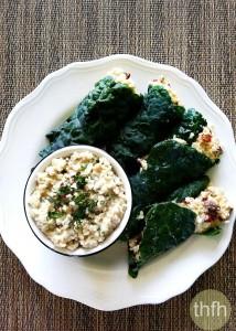 Raw Stuffed Kale Leaves with Mint Cashew Aioli