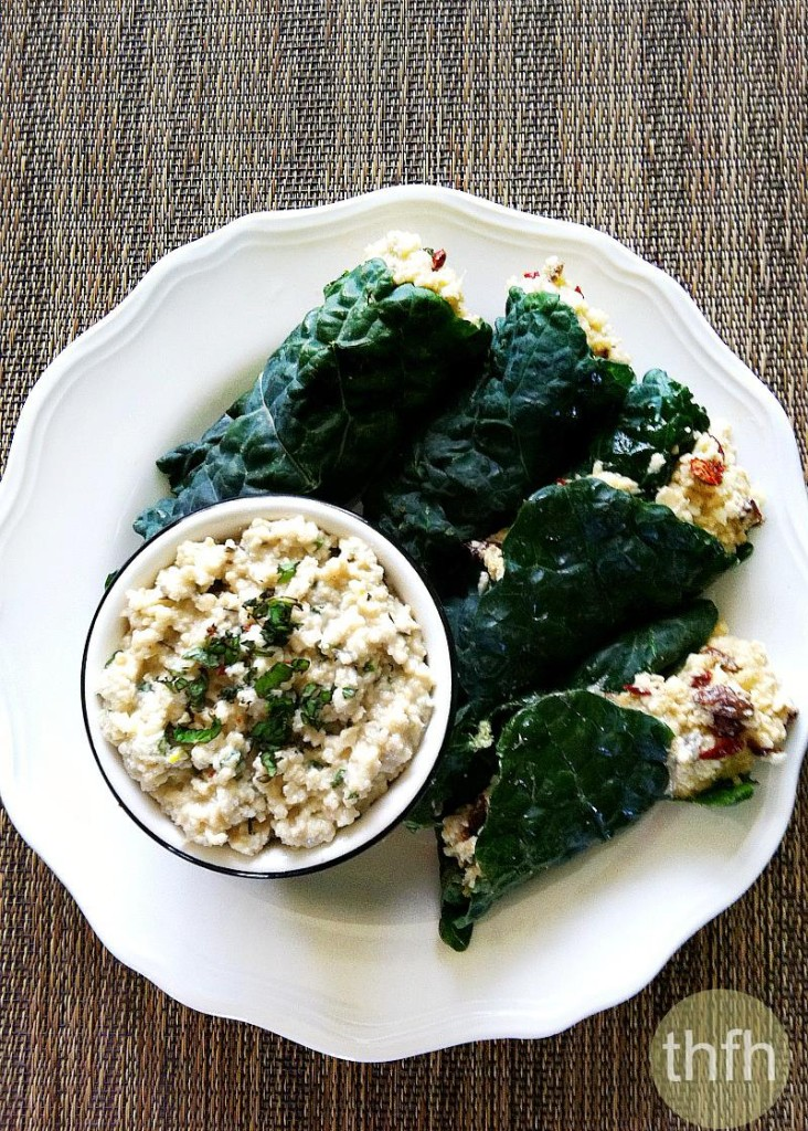 Raw Stuffed Kale Leaves with Mint Cashew Aioli