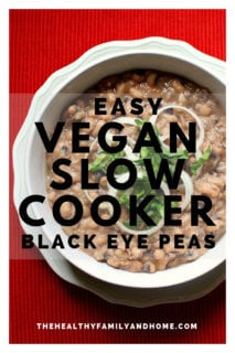 Overhead view of a bowl of Easy Vegan Slow Cooker Black Eyed Peas in a white bowl on a red background