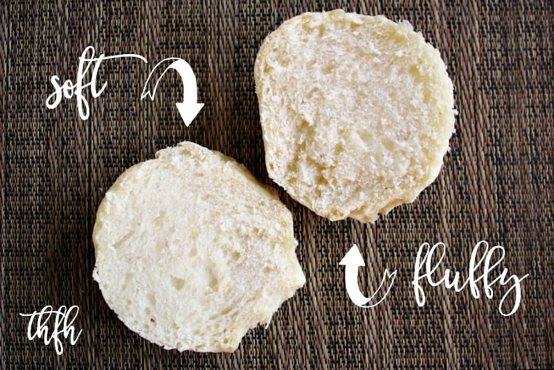 "An image showing the insides of The BEST Homemade Vegan Egg-Free ""Hamburger"" Bun sliced in half showing the fluffy inside with text description"