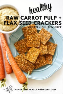 A blue plate filled with Gluten-Free Vegan Raw Carrot Pulp and Flax Seed Crackers on a white background with text overlay