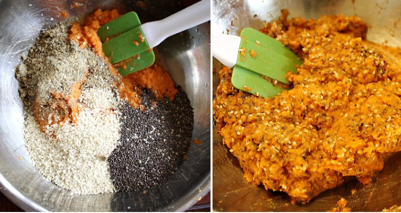 Steps 3 and 4 of How To Make Gluten-Free Vegan Raw Carrot Pulp and Flax Seed Crackers
