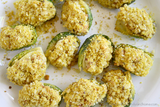 Close-up image of stuffed Brussels sprouts with bread crumb topping