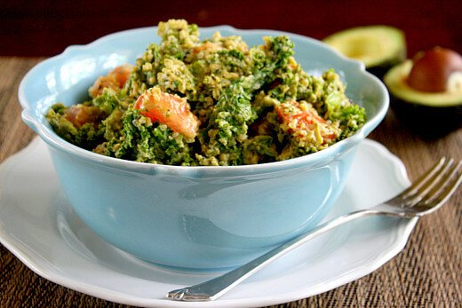 Wilted Kale Salad with Creamy Chipolte Dressing