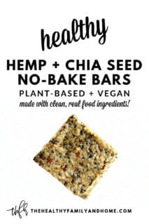 A single Gluten-Free Vegan No-Bake Hemp and Chia Seed Bar on a solid white background with text overlay