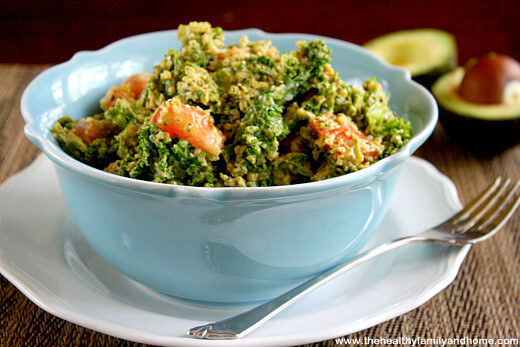 Wilted Kale Salad with Creamy Chipotle Dressing (Raw, Vegan, Gluten-Free, Dairy-Free, Nut-Free, Paleo-Friendly)