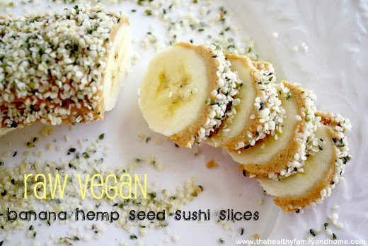 Clean Eating Banana Hemp Seed Sushi Slices - Vegan, Gluten-Free, Dairy-Free, No Refined Sugars | The Healthy Family and Home