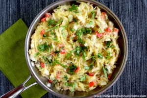 Spaghetti Squash with Basil and Creamy Cauliflower Afredo Sauce (Vegan, GF, Dairy-Free)