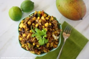 Red Quinoa and Mango Salad with Lime Dressing (Vegan, Gluten-Free, Grain-Free, Dairy-Free)