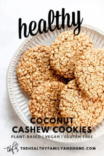 Overhead view of a plate full of Gluten-Free Vegan Flourless Coconut Cashew Cookies with text overlay