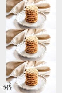 A collage of three images of a plate with stacked Gluten-Free Vegan Flourless Coconut Cashew Cookies and a cream napkin in the background