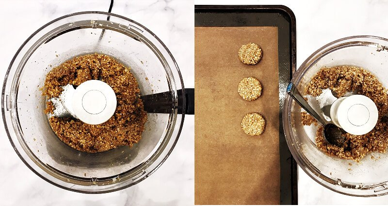 Two images showing How To Make Gluten-Free Vegan Flourless Coconut Cashew Cookies in a food processor after adding the wet ingredients