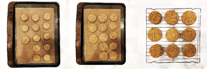 Three images showing How To Make Gluten-Free Vegan Flourless Coconut Cashew Cookies of the cookies before and after baking them and cooling them on a cookie rack