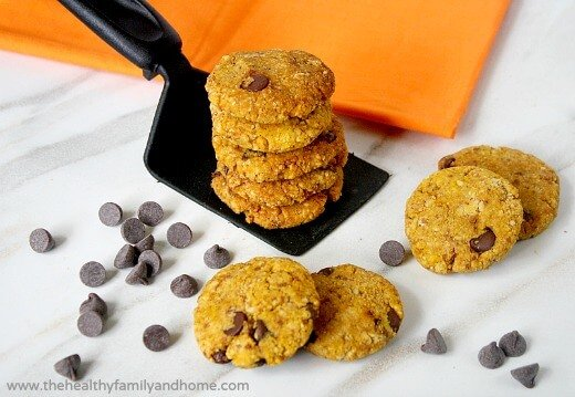 Grain-Free Chocolate Chip Pumpkin Cookies (Vegan, Gluten-Free, Grain-Free, Flourless and Dairy-Free)