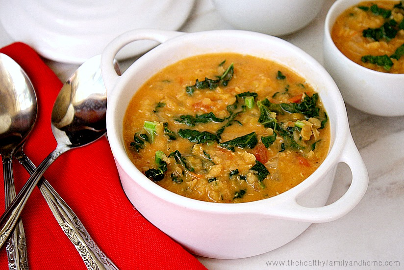 Creamy Red Lentil and Kale Soup | Clean Eating Recipes ...