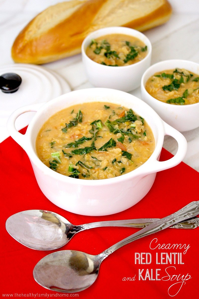 Creamy Red Lentil and Kale Soup | The Healthy Family and Home