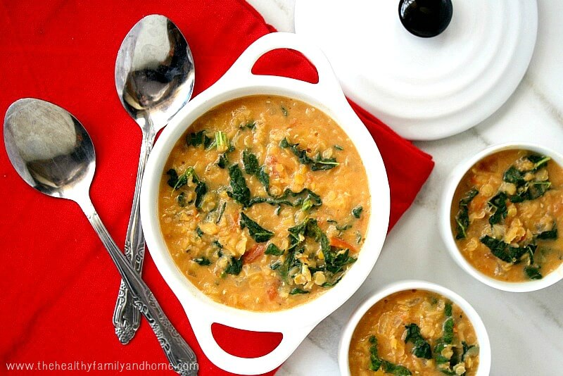 Creamy Red Lentil And Kale Soup Vegan Gluten Free Dairy Free