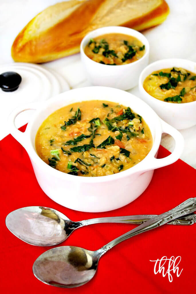 Creamy Vegan Red Lentil and Kale Soup