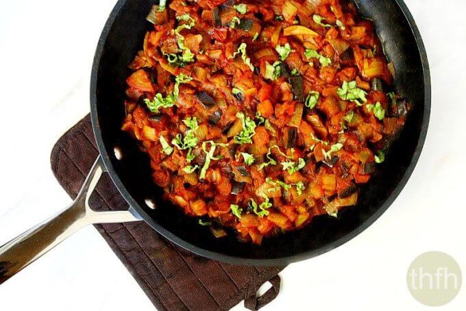 Eggplant Onion and Tomato Stew (Vegan, Gluten-Free, Paleo-Friendly)