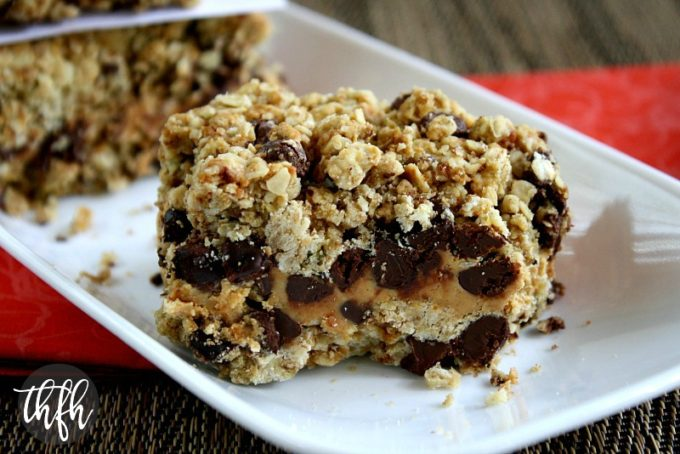 Peanut Butter and Chocolate Chip Oat Bars (Vegan, Gluten-Free, Flourless, Egg-Free, Dairy-Free, No Refined Sugar)