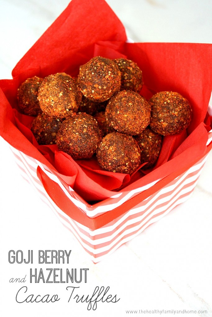 Clean Eating Goji Berry and Hazelnut Cacao Truffles - Raw, Vegan, Gluten-Free, Dairy-Free, Paleo-Friendly, No Refined Sugars | The Healthy Family and Home