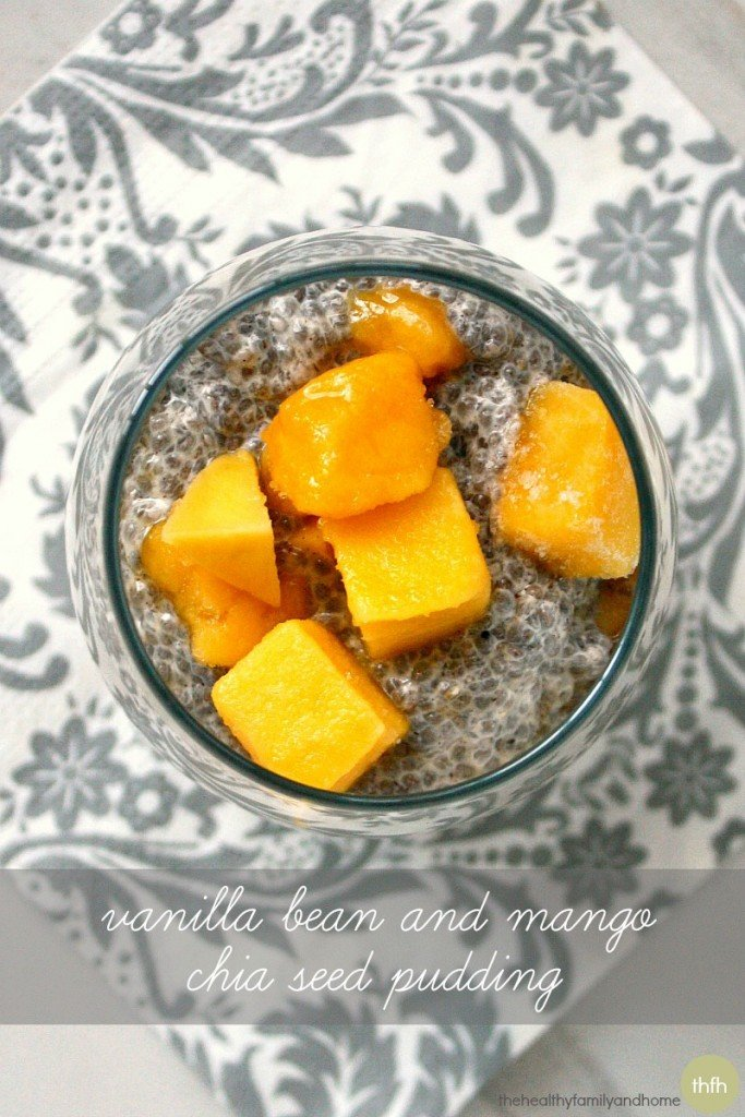 Vanilla Bean and Mango Chia Seed Pudding - Raw, Vegan, Gluten-Free, Dairy-Free, Paleo and No Refined Sugars | The Healthy Family and Home