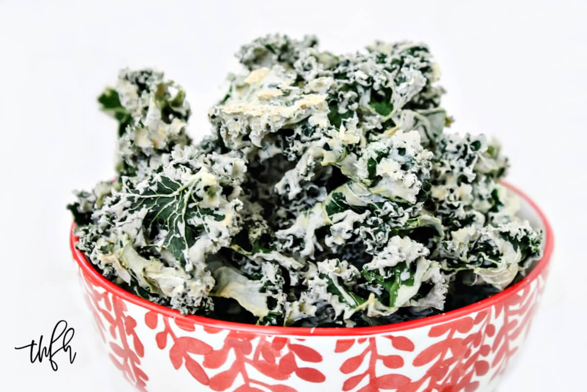 Horizontal close-up image of a decorative red and white bowl filled with habanero kale chips on a solid white background