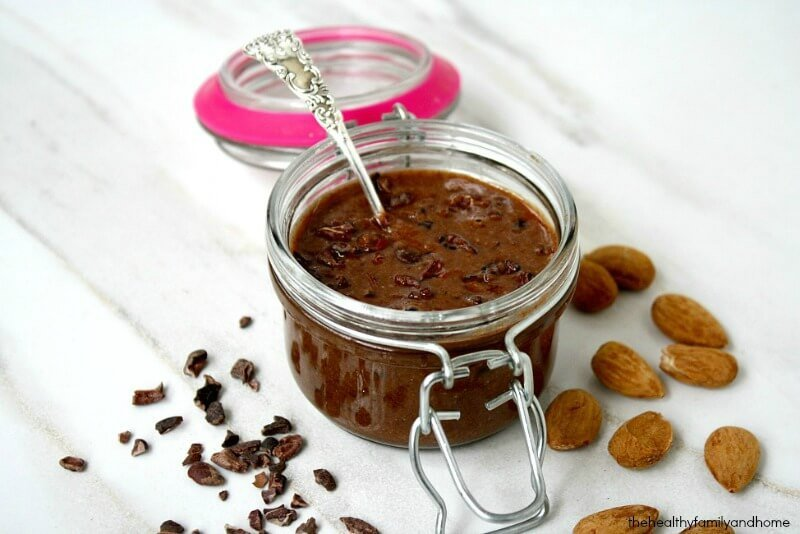 Clean Eating Crunchy Cacao Nib Chocolate Almond Butter - Raw, Vegan, Gluten-Free, Dairy-Free, Paleo-Friendly, No Refined Sugars | The Healthy Family and Home