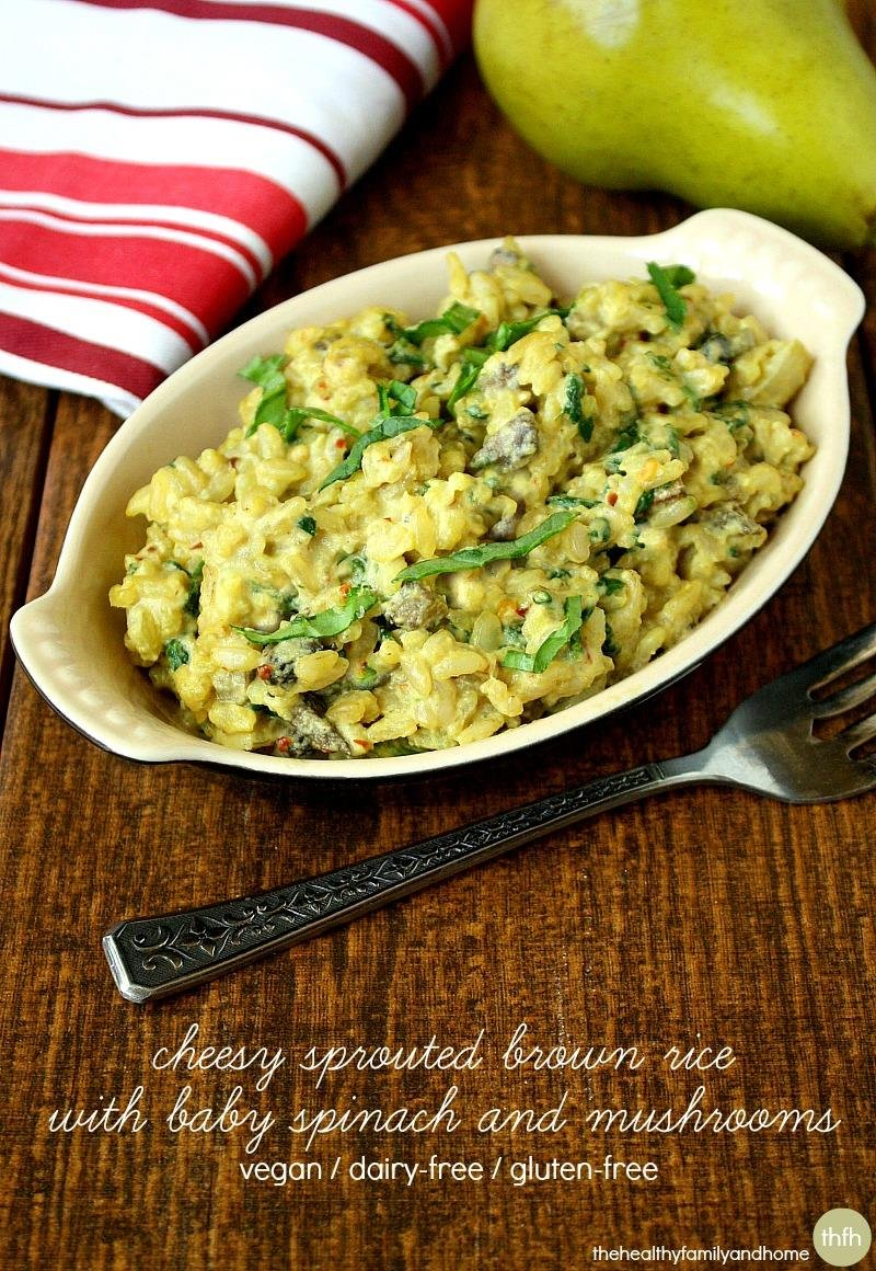 Cheesy Sprouted Brown Rice with Spinach and Mushrooms | The Healthy Family and Home