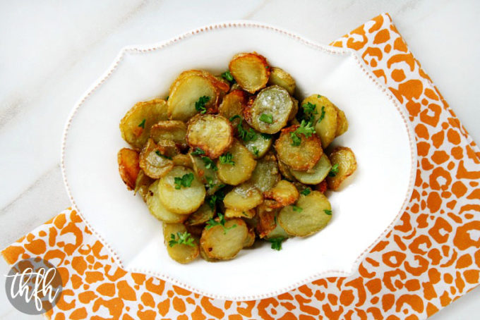 Garlic and Shallot Fingerling Potatoes (Vegan, Gluten-Free, Dairy-Free, Nut-Free, Paleo-Friendly*)