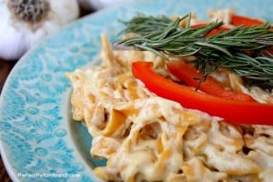 Sweet Potato Fettuccine with Creamy Rosemary with Roasted Garlic Sauce (Vegan, Gluten-Free, Dairy-Free)