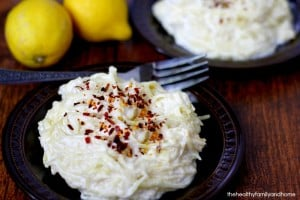 Spaghetti Squash with Creamy Lemon Garlic Sauce (Vegan, Gluten-Free, Dairy-Free, Paleo-Friendly)