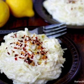 Clean Eating Spaghetti Squash with Creamy Lemon Garlic Sauce - Vegan, Gluten-Free, Dairy-Free, Paleo-Friendly   The Healthy Family and Home