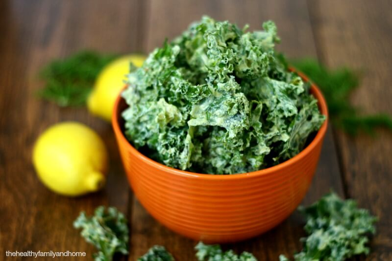 Lemon Dill Kale Chips (Raw, Vegan, Gluten-Free, Dairy-Free, Paleo-Friendly)