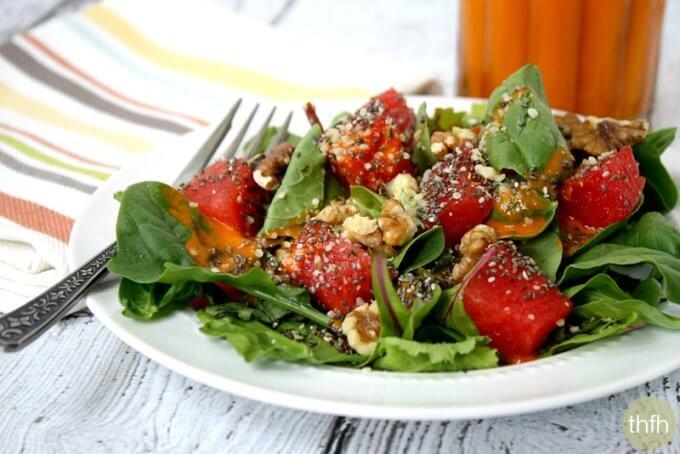 Watermelon Salad with Clean Eating Watermelon Vinaigrette (Raw, Vegan, Gluten-Free, Dairy-Free, Paleo-Friendly)