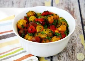 Cherry Tomatoes with Spinach Pesto (Raw, Vegan, Gluten-Free, Dairy-Free, Paleo-Friendly)