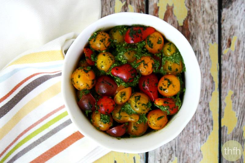 Clean Eating Cherry Tomatoes with Spinach Pesto | The Healthy Family and Home