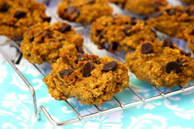 Gluten-Free Chocolate Chip Pumpkin Oatmeal Cookies (Vegan, Gluten-Free, Dairy-Free, No Refined Sugars)