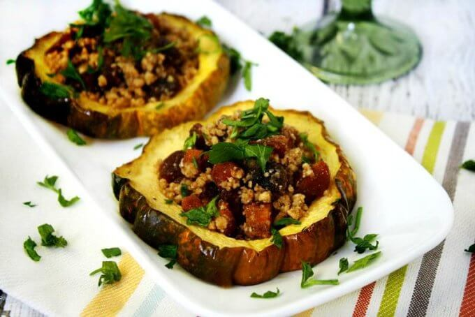 Acorn Squash Rings with Walnuts and Dried Apricots (Vegan, Gluten-Free, Dairy-Free, Paleo-Friendly, No Refined Sugar)